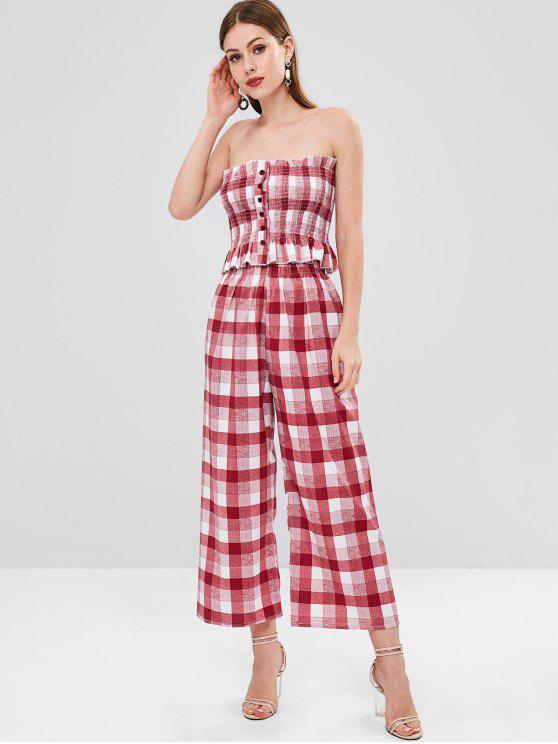 Top Increspato E Pantaloni A Quadretti - Multi Colori M