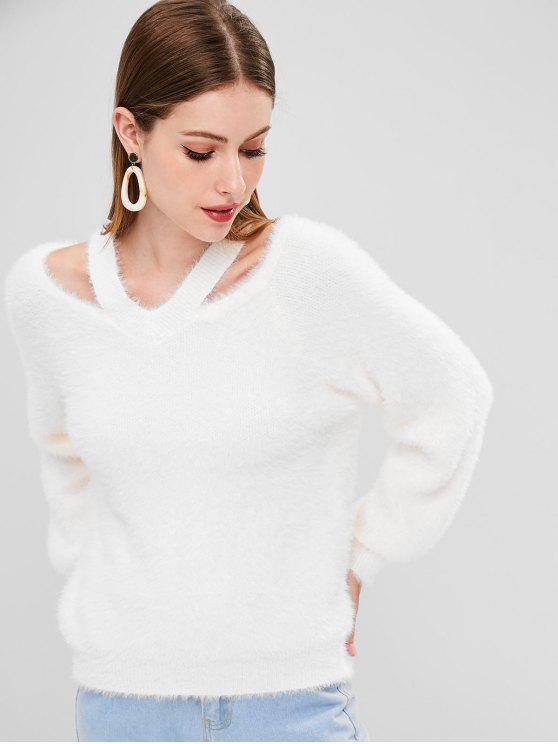 Maglione Con Scollo A V - Bianca Taglia unica