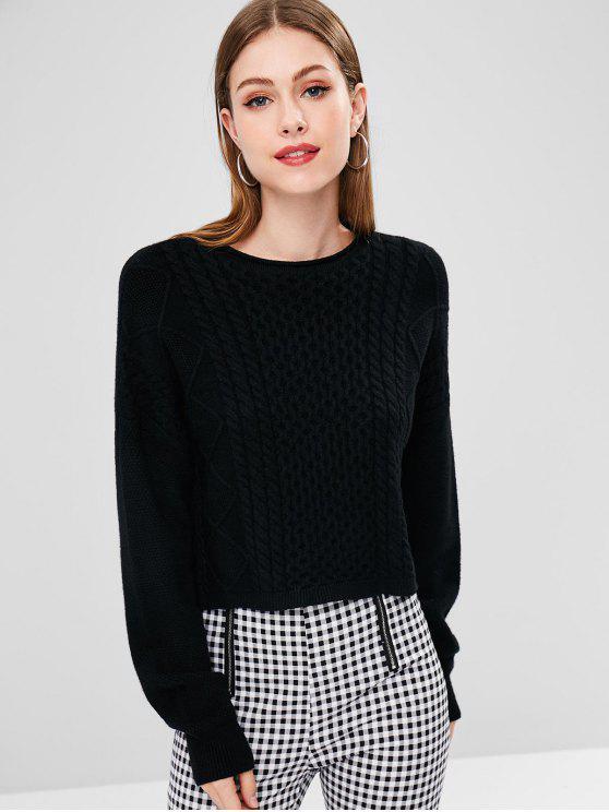 Zopfmuster High Low Sweater - Schwarz Eine Größe