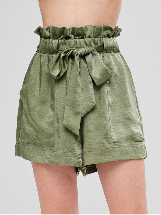 Ruffles Belted Loose Shorts - Exército verde L
