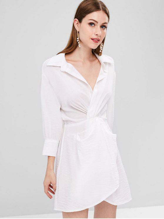 women Plunge Twist Shirt Dress - WHITE ONE SIZE