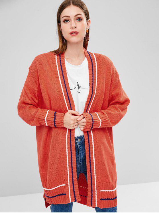 Gestreifte Asymmetrischer Longline Strickjacke - Orange Eine Größe