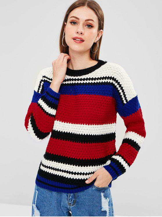 ladies Color Block Chunky Sweater - MULTI ONE SIZE