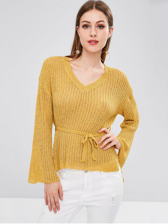 fancy High Low Slit V Neck Sweater - BRIGHT YELLOW ONE SIZE