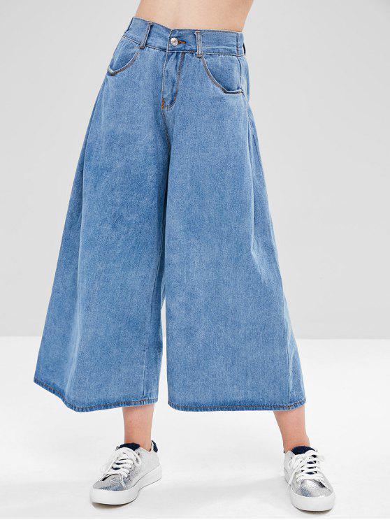 Hohe Taille Breites Bein Hose - Denim Blau M