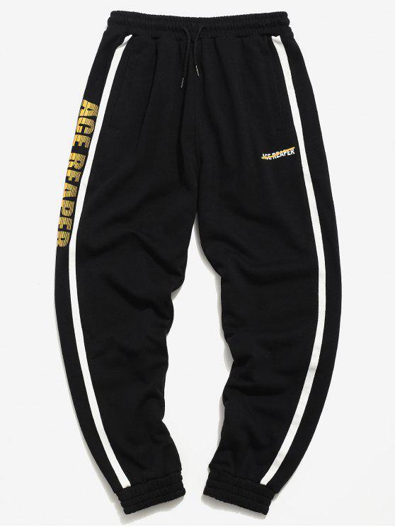 latest Side Stripes Letter Taping Jogger Pants - BLACK L