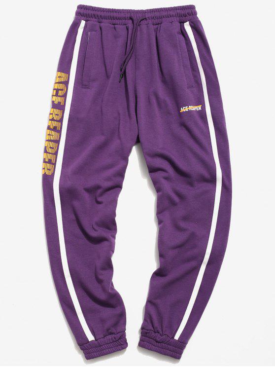 sale Side Stripes Letter Taping Jogger Pants - PURPLE 2XL