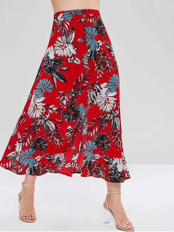 ladies Palm Leaves Buttoned Slit Skirt - CHERRY RED L
