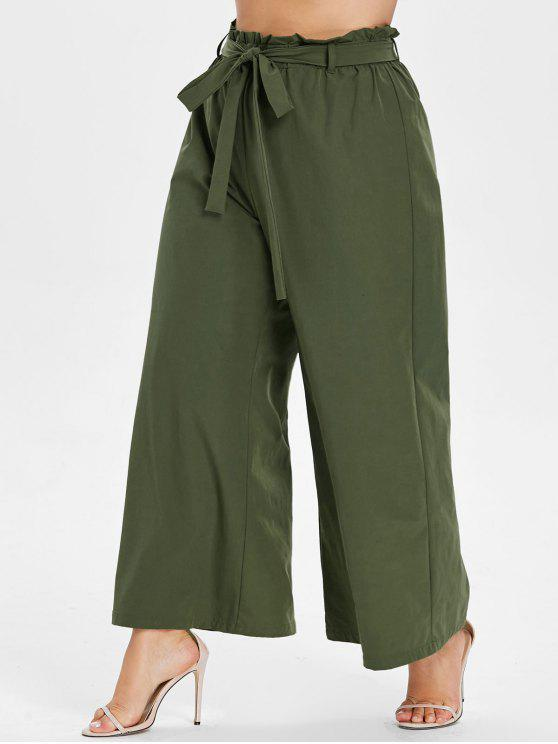 outfit Plus Size Wide Leg Belted Culotte Pants - ARMY GREEN 4X
