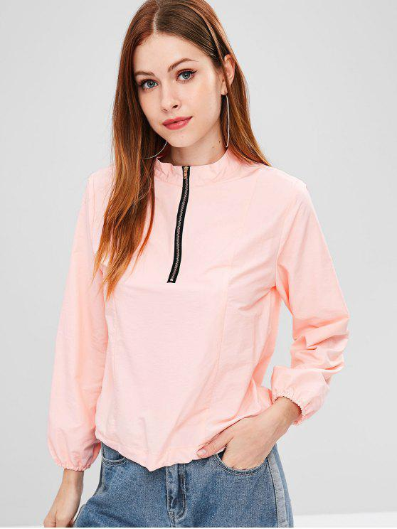 shops ZAFUL Quarter Zip Drawcord Pullover Lightweight Jacket - PINK L