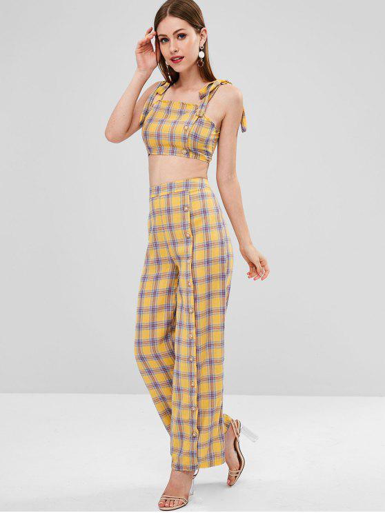 women's Buttons Embellished Plaid Pants Set - BRIGHT YELLOW S