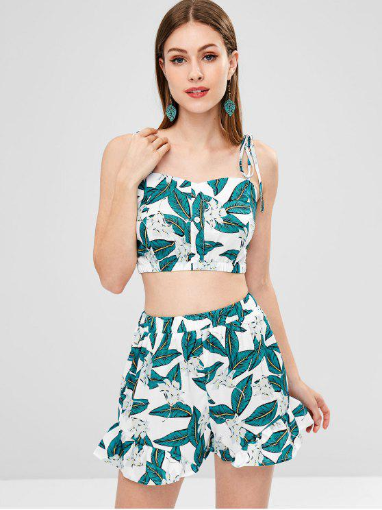 women Smocked Leaves Top and Shorts Set - MULTI M