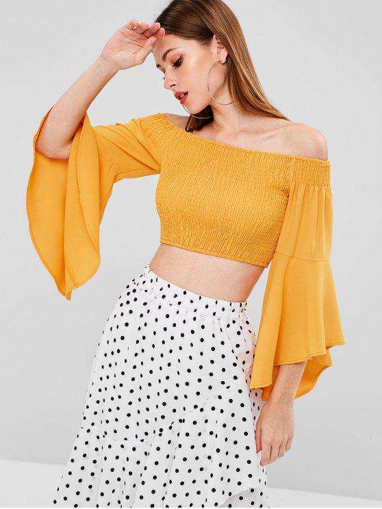 shops Flare Sleeve Off Shoulder Smocked Crop Top - SCHOOL BUS YELLOW XL