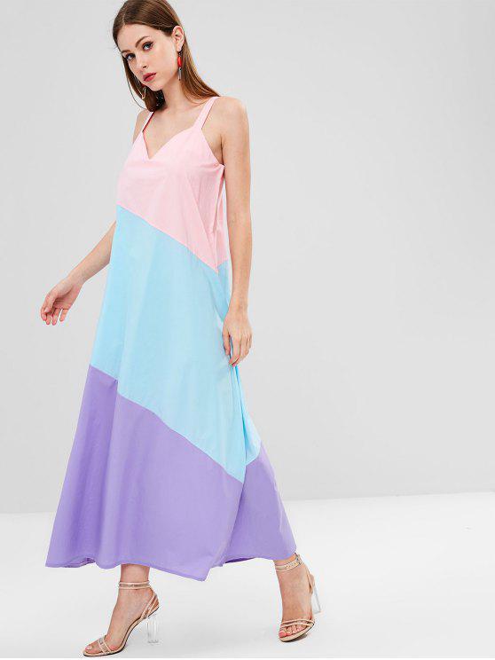 hot ZAFUL Color Block Sleeveless Mid Calf Dress - LIGHT PINK L