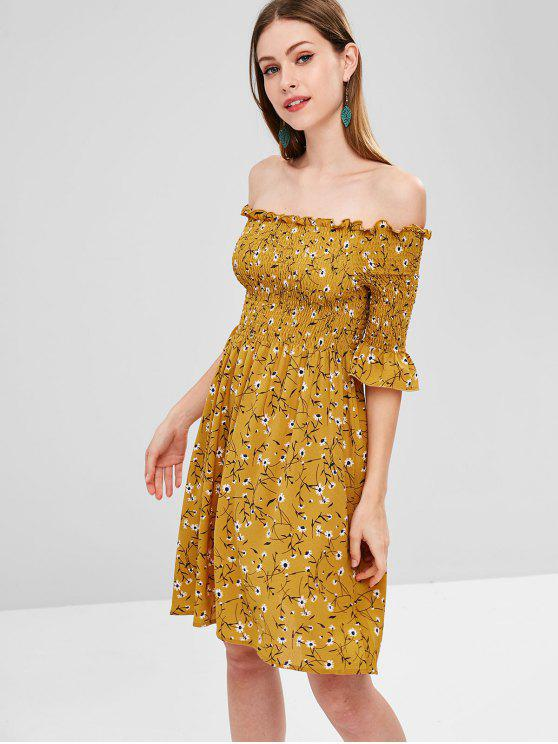 Smocked Off Vestido Floral Ombro - Ouro Laranja L