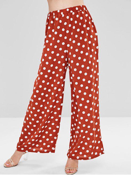 trendy Polka Dot Wide Leg Pants - CHESTNUT RED S