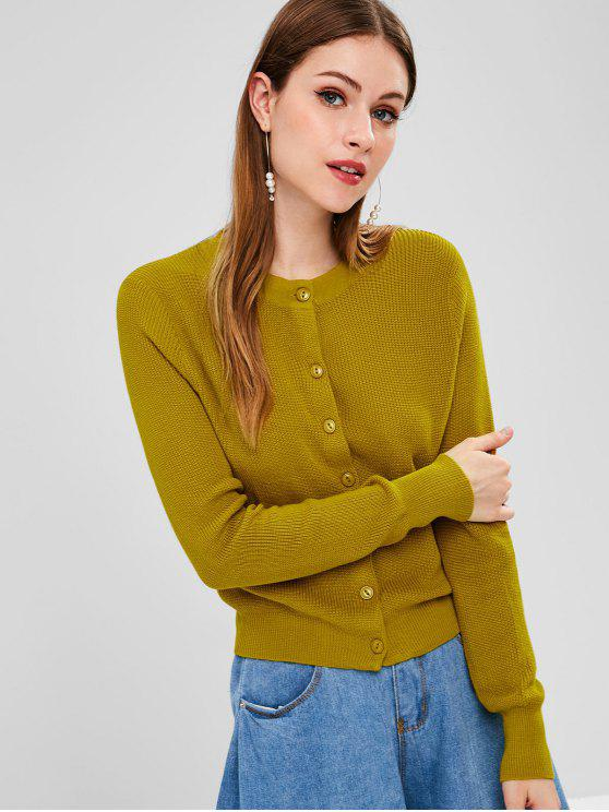 best Round Neck Button Up Cardigan - GOLDENROD ONE SIZE