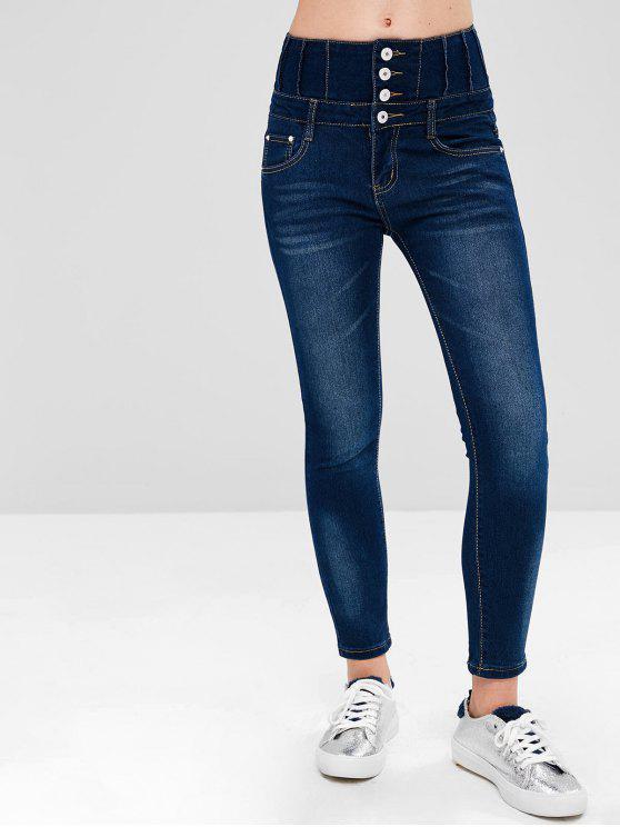 Jeans A Vita Alta Con Tasche - Blu Scura Denim  L