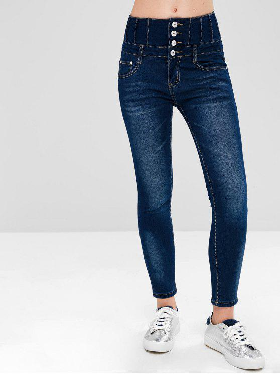 womens High Waist Pockets Jeans - DENIM DARK BLUE XL