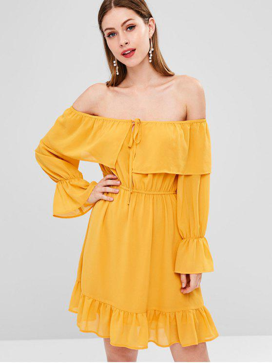 unique Flounce Flare Sleeve Off Shoulder Dress - SCHOOL BUS YELLOW L