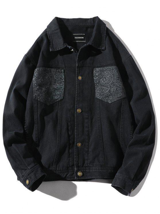 sale Patch Pocket Back Hand with Arrow Print Jacket - BLACK L