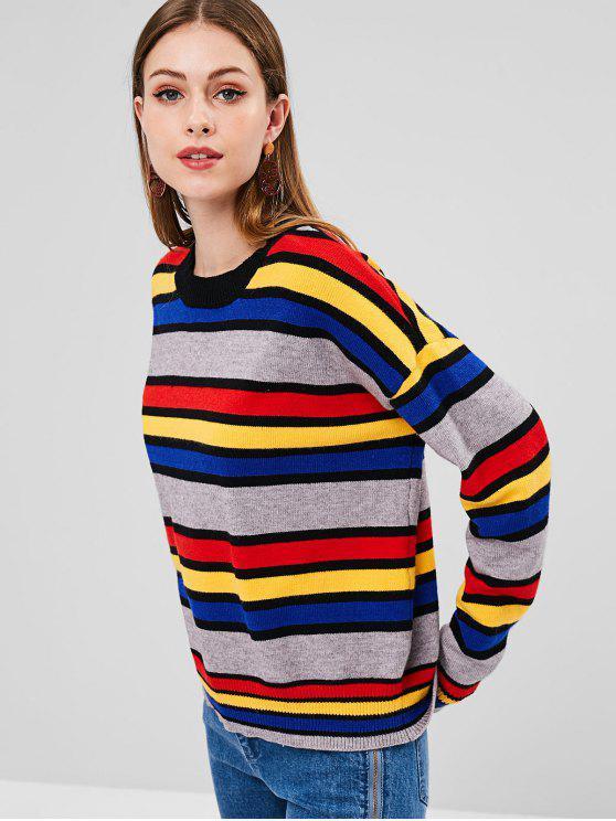 Цветной блок Loose Sweater - Многоцветный Один размер