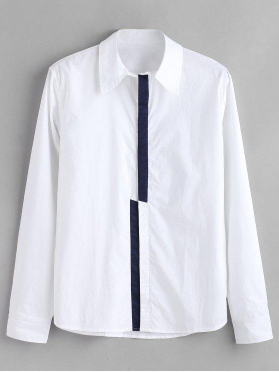 chic ZAFUL Color Block Concealed Placket Shirt - WHITE S