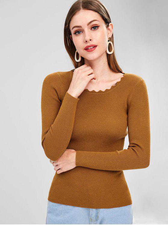women Wavy Neckline Ribbed Knit Sweater - BROWN M