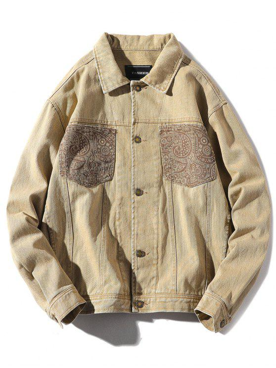 fashion Patch Pocket Back Hand with Arrow Print Jacket - LIGHT KHAKI XL