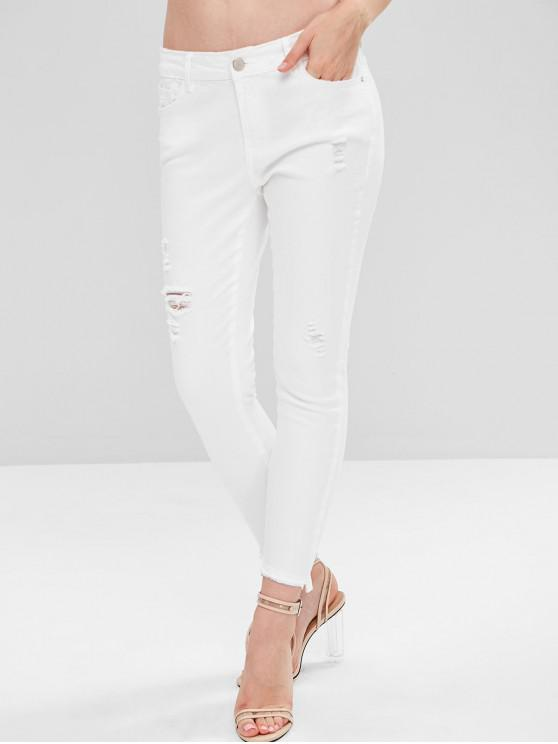 online Ripped Ankle Skinny Jeans - WHITE XL