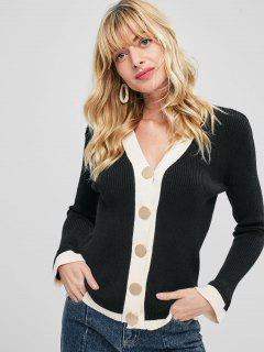 Contrast Trim Ribbed Cardigan - Black
