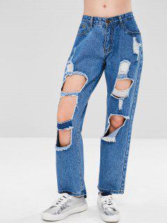 Distressed Cut Out Boyfriend Jeans - Denim Dark Blue L