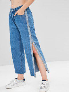 Side Slit Frayed Hem Boyfriend Jeans - Denim Dark Blue S