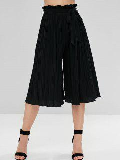 Belted Pleated Wide Leg Pants - Black