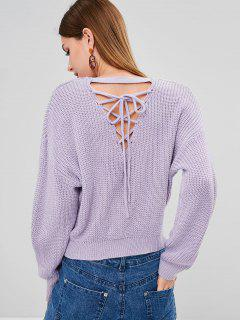 Back Lace Up Chunky Knit Weater - Lavender Blue