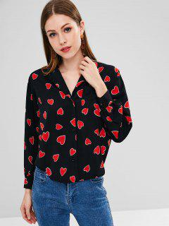 Heart Print Pocket Shirt - Black M