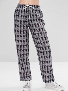 Snake Print Drawstring Pants - Multi M