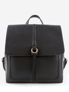 PU Leather Functional Travel Backpack - Black
