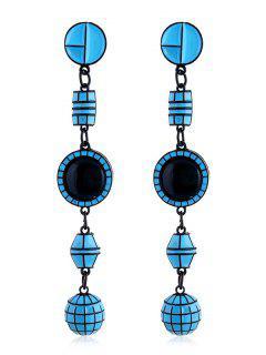 Geometric Shape Long Hanging Earrings - Deep Sky Blue