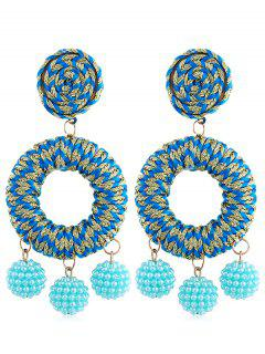 Bohemian Beads Ball Drop Earrings - Deep Sky Blue