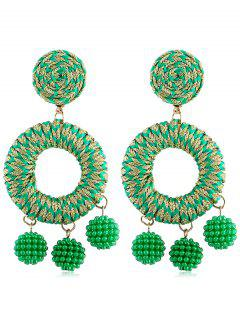 Bohemian Beads Ball Drop Earrings - Green