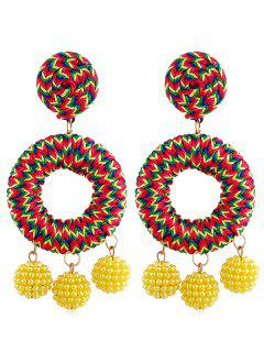 Bohemian Beads Ball Drop Earrings - Yellow