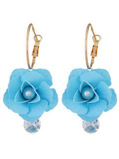 Artificial Pearl Floral Design Rhinestone Earrings - Day Sky Blue