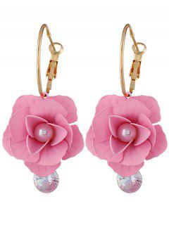 Artificial Pearl Floral Design Rhinestone Earrings - Pink