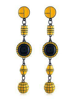 Geometric Shape Long Hanging Earrings - Yellow