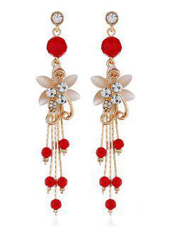 Rhinestone Flower Beads Tassel Long Hanging Earrings - Red