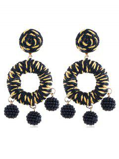 Bohemian Beads Ball Drop Earrings - Black
