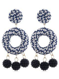 Bohemian Beads Ball Drop Earrings - Silver