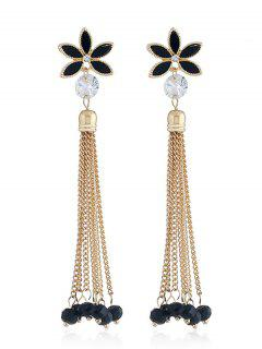 Floral Design Beads Chain Tassel Earrings - Black