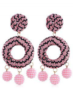 Bohemian Beads Ball Drop Earrings - Pink